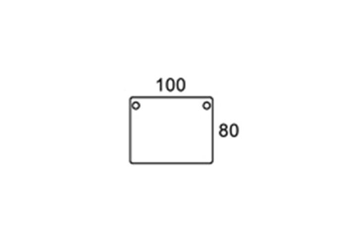 100/80cm rektangulær bordplade m. kabelhuller