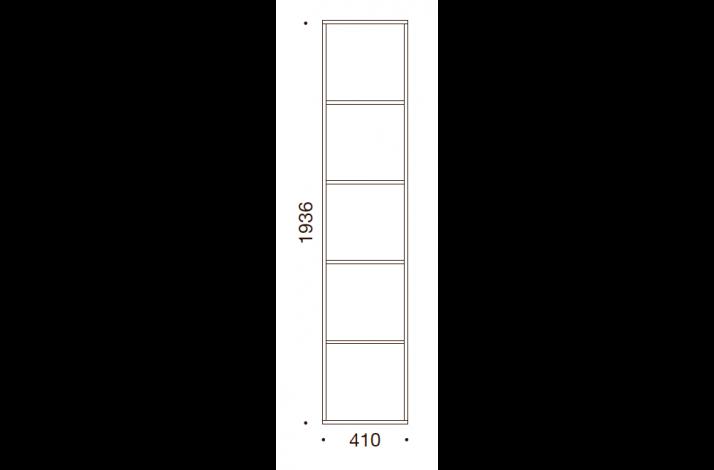 QUADRO OPBEVARING - 193,6x41x35/43, UDEN LÅGE