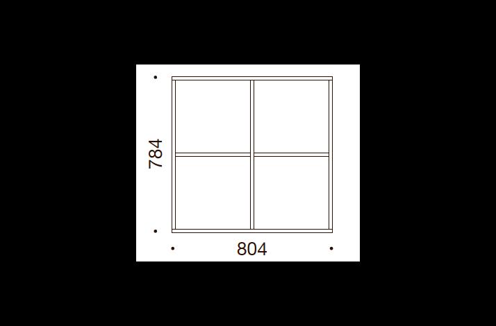 QUADRO OPBEVARING - 78,4x80,4x35/43, UDEN LÅGE