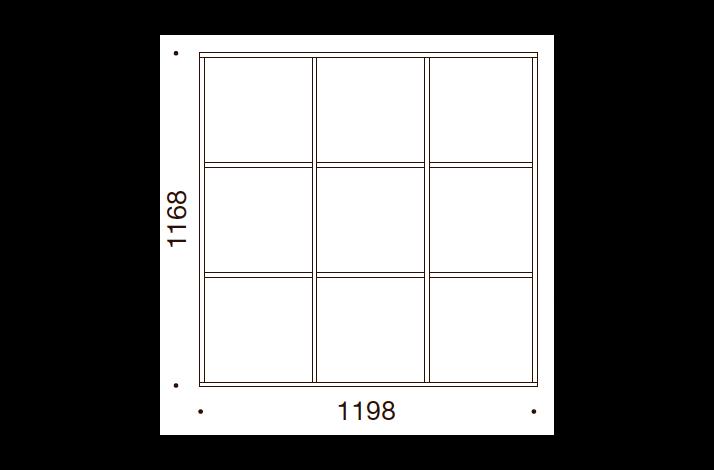 QUADRO OPBEVARING - 116,8x119,8x35/43, UDEN LÅGE