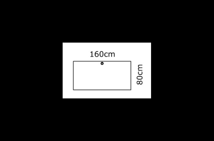 160/80 Rektangulær bordplade - Melamin