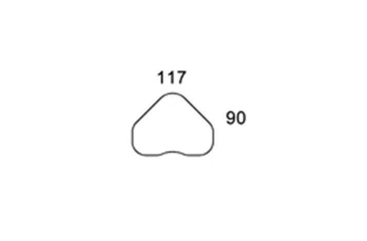 117x90 Hjerteformet bordplade